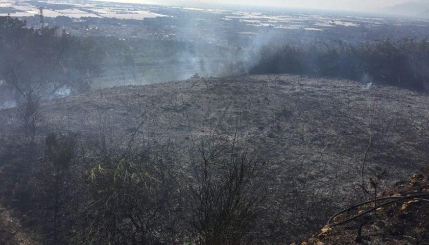 Collina in fiamme a Battipaglia, non si fermano i piromani