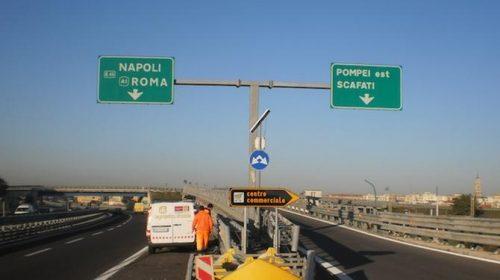 A3 NAPOLI-POMPEI-SALERNO: CHIUSO PER UNA NOTTE IL TRATTO POMPEI EST SCAFATI-ANGRI