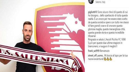 """Salernitana, Gigliotti su Instagram: """"Spero di onorare la gloriosa maglia granata"""""""
