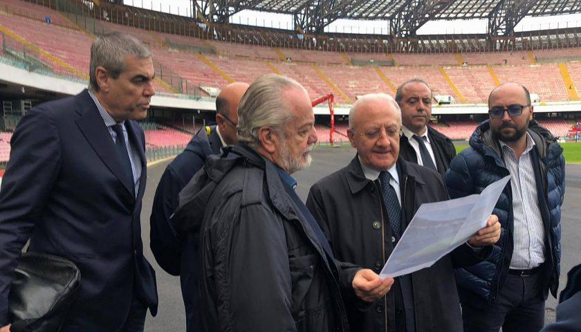 Universiade 2019, sopralluogo allo stadio San Paolo del governatore De Luca con il presidente del Napoli De Laurentis