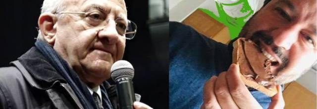 De Luca al vetrolo contro Salvini: «Meno tweet e meno leccate di Nutella»