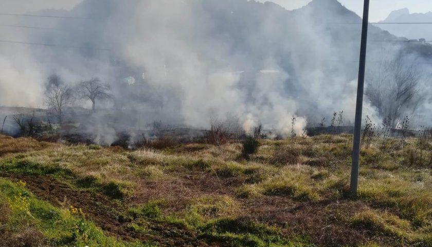 Cava de' Tirreni: arbusti a fuoco a via Petrellosa, paura tra i residenti