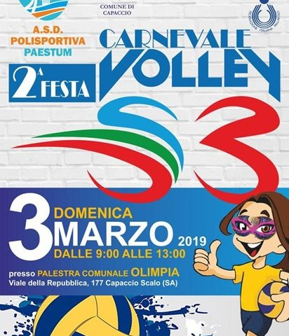 """Domenica a Paestum c'è il """"Carnevale Volley S3"""""""