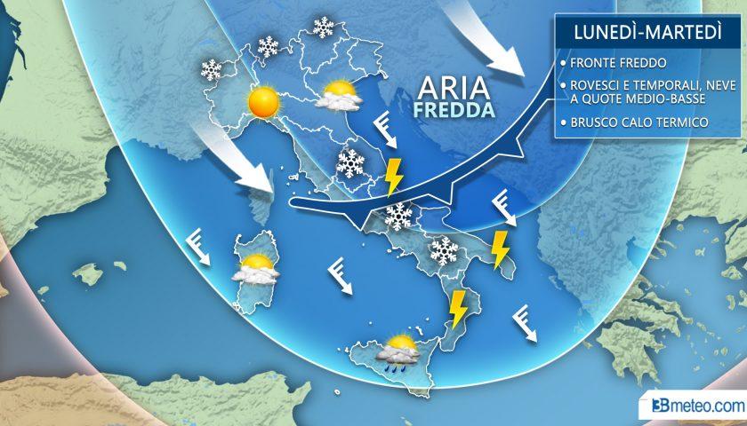 Meteo: weekend variabile, poi offensiva invernale con brusco calo termico e neve a quote medio-basse