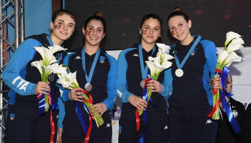 Campionati Europei Cadetti e Giovani Foggia 2019: la scherma napoletana è d'argento con la squadra di sciabola femminile under 20