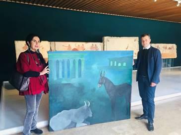 Paestum e l'arte contemporanea: tela di Sergio Vecchio donata al Museo