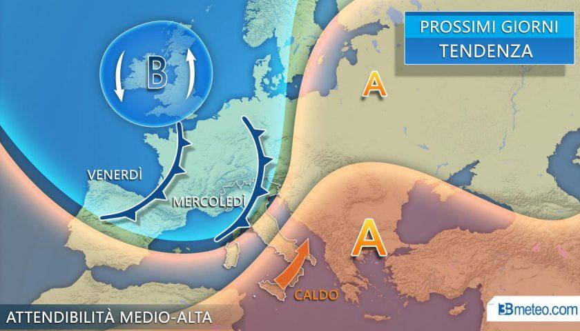 Meteo: Italia divisa a metà tra temporali e primi caldi dal Nord Africa