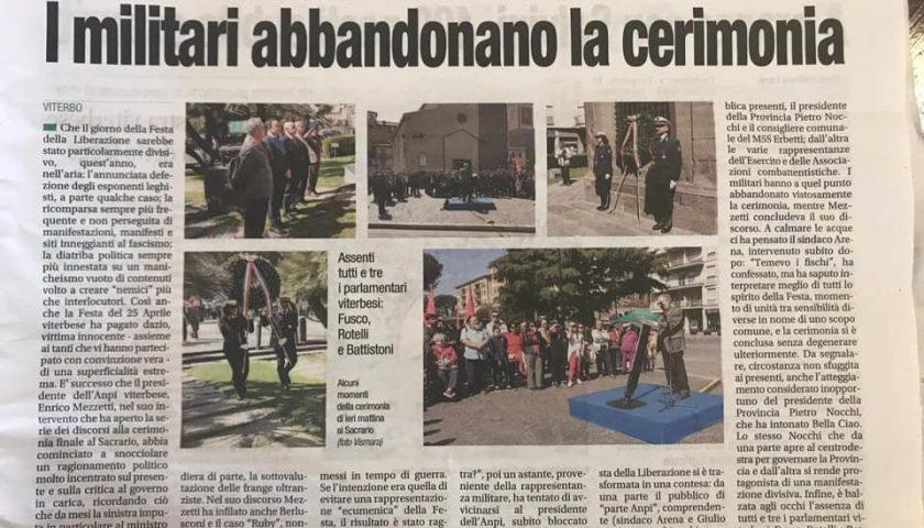 25 aprile a Viterbo: l'Anpi attacca le forze armate, Generale abbandona il palco in segno di protesta