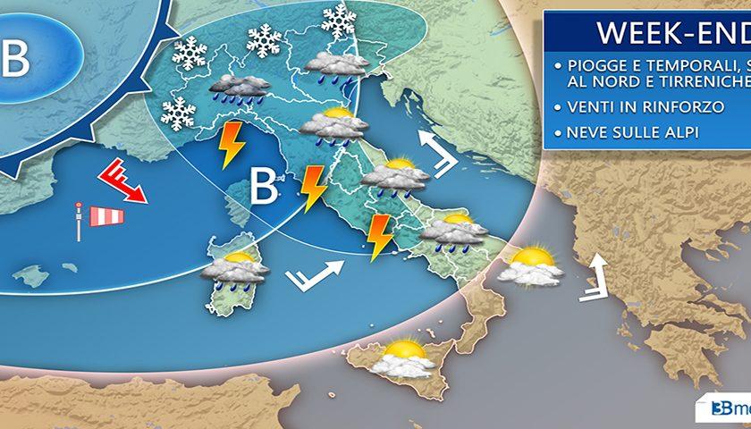 Meteo: nel weekend ennesima perturbazione con piogge, temporali e neve sulle Alpi. Il caldo africano a fine mese? Cautela