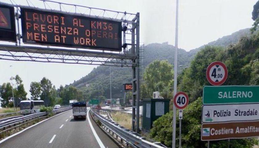 Autostrada A3: tratto Salerno – Cava de' Tirreni verso Napoli chiuso di notte fino al 12 novembre