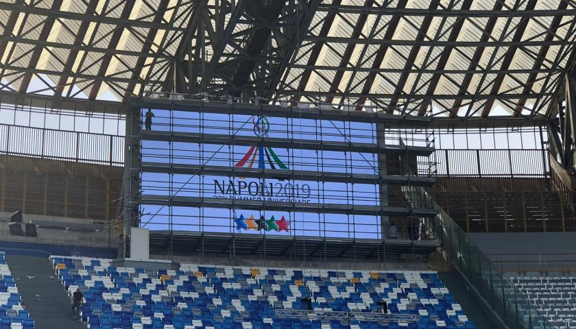 Universiade, prove di video wall allo stadio San Paolo di Napoli