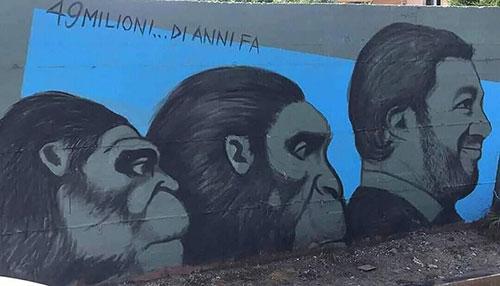 Baronissi, murales offensivo a Salvini: sindaco Valiante lo fa cancellare