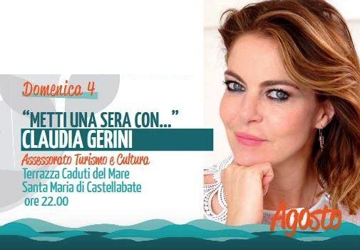 """Castellabate, """"Metti una sera con…Claudia Gerini"""""""