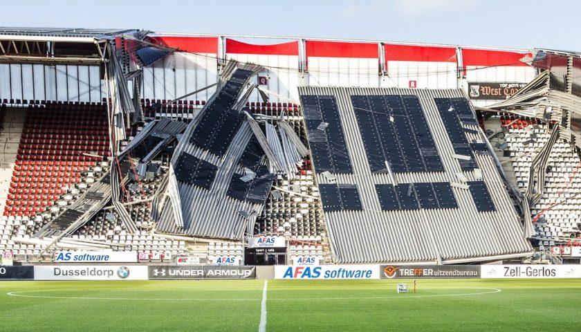 Tragedia sfiorata ad Alkmaar (Olanda): è crollata una parte della tettoia dello stadio dell'AZ!