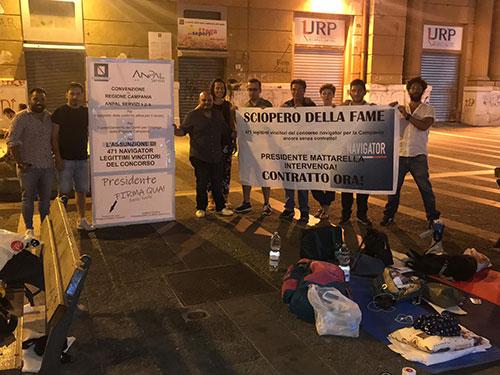 La prima notte dei navigator Campani in sciopero della fame