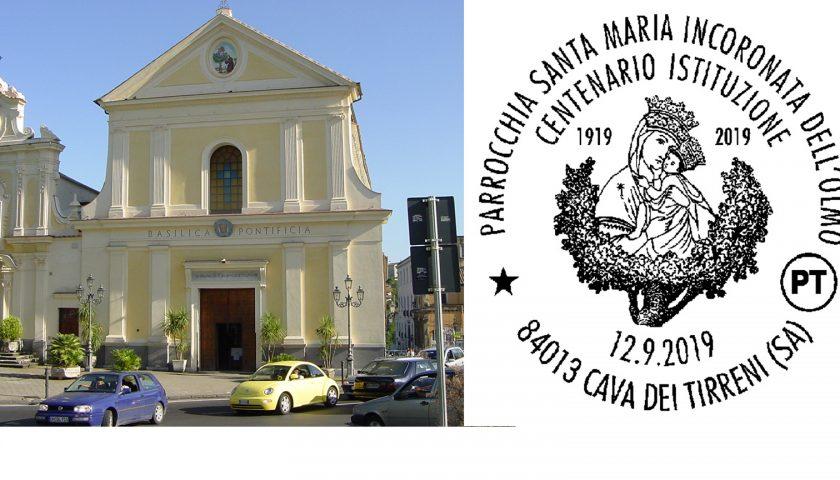 Cava de' Tirreni: annullo filatelico per il Centenario della Parrocchia di Santa Maria Incoronata Dell'Olmo