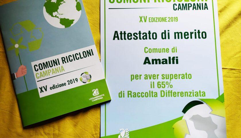 Amalfi Comune Riciclone: all'Antica Repubblica Marinara il riconoscimento di Legambiente Campania