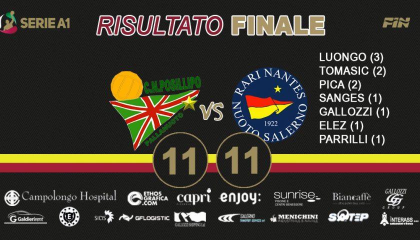 Finisce in parità il derby tra Rari Nantes Salerno e Posillipo