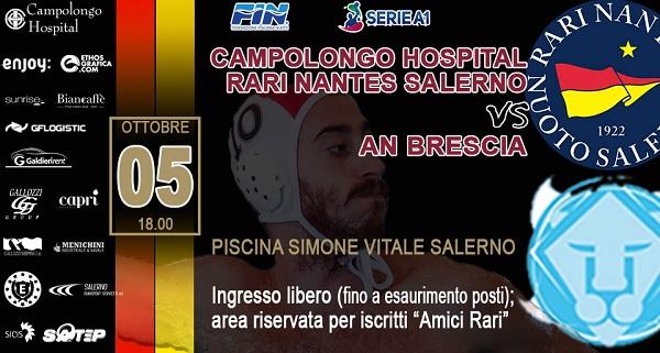 Esordio in serie A1 per la Rari Nantes Salerno, alla Piscina Vitale arriva la corazzata Brescia