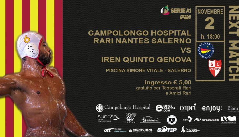 """Sfida salvezza per la Rari Nantes Salerno, alla """"Vitale"""" arriva l'Iren Quinto Genova"""