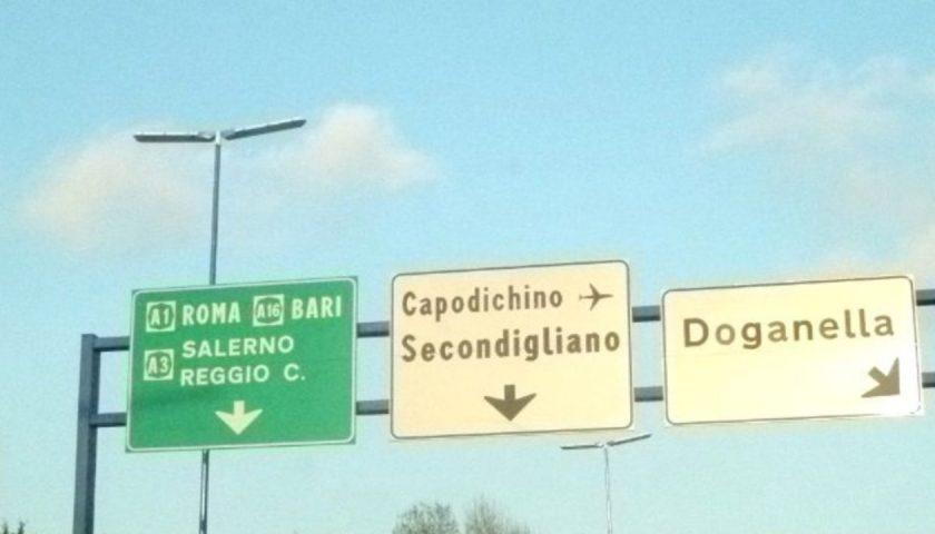 Ramo C (Diramazione Capodichino – allacciamento A3 Napoli-Pompei-Salerno) chiuso per due notti verso la A1 Milano – Napoli