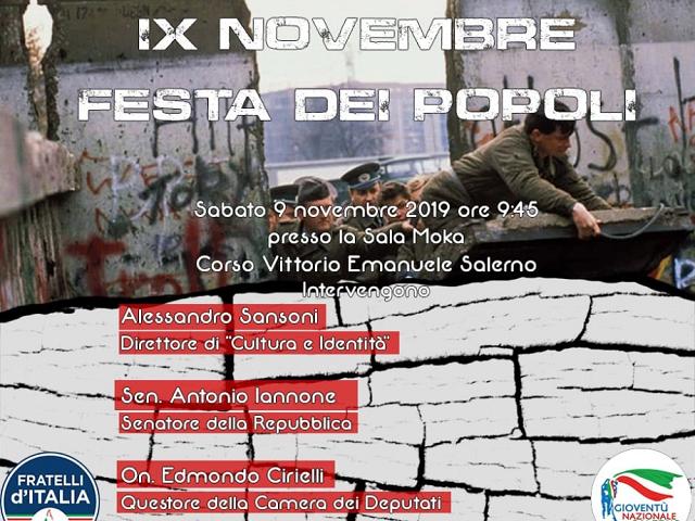 """""""IX NOVEMBRE: FESTA DEI POPOLI"""" per commerorare i 30 anni della Caduta del Muro di Berlino"""