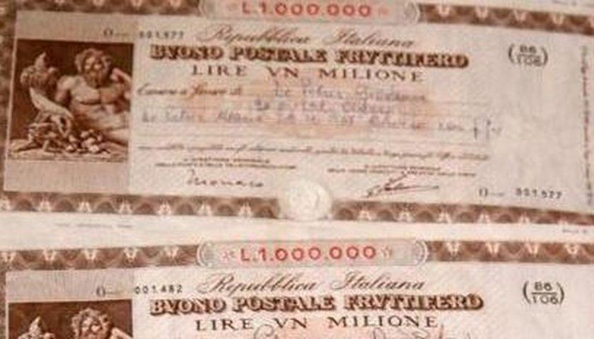 Salerno, trova buoni postali per 2 milioni di vecchie lire: lite con le Poste per la rivalutazione