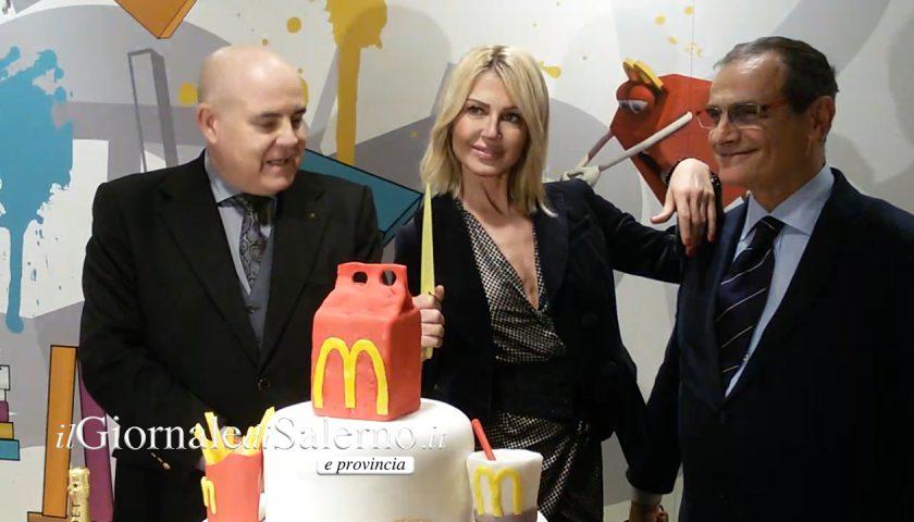 Salerno: taglio del nastro per la riapertura del McDonald's di Mercatello con Nathalie Caldonazzo