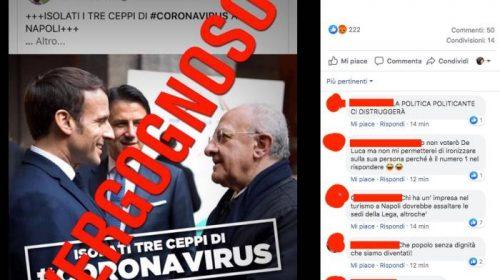 """Post choc del commissario della Lega su De Luca, Macron e Conte: """"Isolati tre ceppi di coronavirus"""". Il Governatore:  """"Vergognoso"""". Indignazione anche in Francia"""