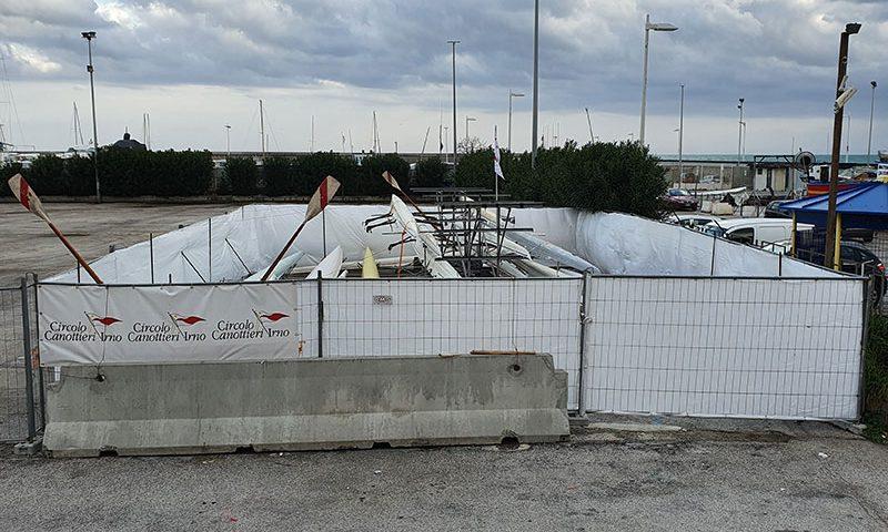 Canottieri Irno, allestito campo base provvisorio nel sottopiazza della Concordia