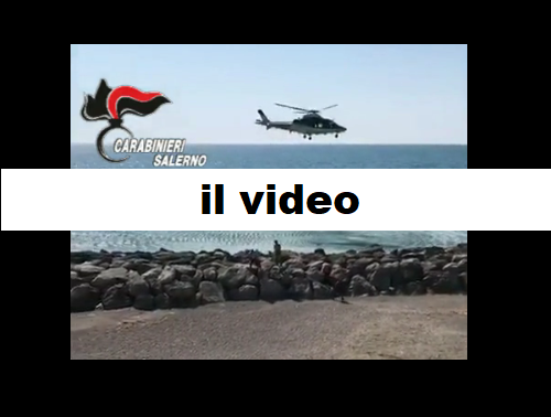 L'intervento del 7° Elinucleo Carabinieri di Pontecagnano per allontanare persone dalla spiaggia
