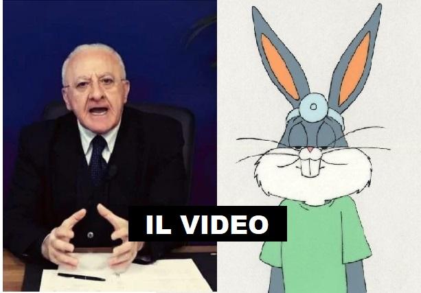 """De Luca: """"Da Protezione Civile mascherine del coniglietto Bunny"""""""