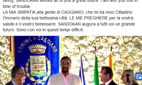 MY LOVE to the people of CAGGIANO. Kabir Bedi prega per l'Italia