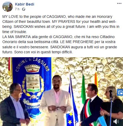 MY LOVE to the people of CAGGIANO. Kabir Bedi prega per l'Italia