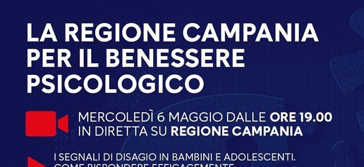 Regione Campania. Inizativa per il benessere psicologico oggi ore 19