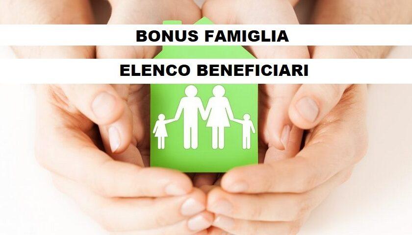 REGIONE CAMPANIA: pubblicato sul sito il primo elenco dei beneficiari del BONUS FAMIGLIE