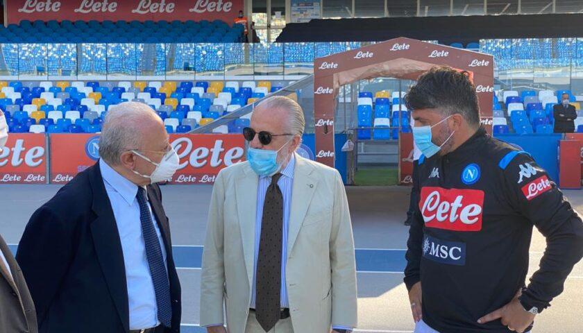 Riparte il calcio, De Luca al San Paolo saluta il Napoli e De Laurentiis