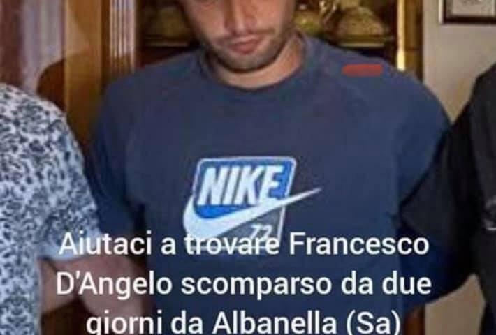 Fine dell'angoscia, ritrovato stamane il 27enne di Albanella scomparso venerdì