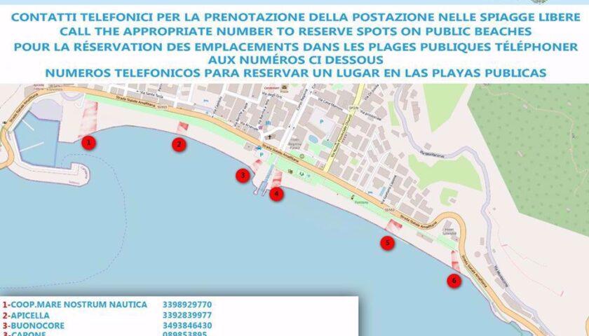 Maiori – ecco l'elenco dei numeri da contattare per prenotare le spiagge libere