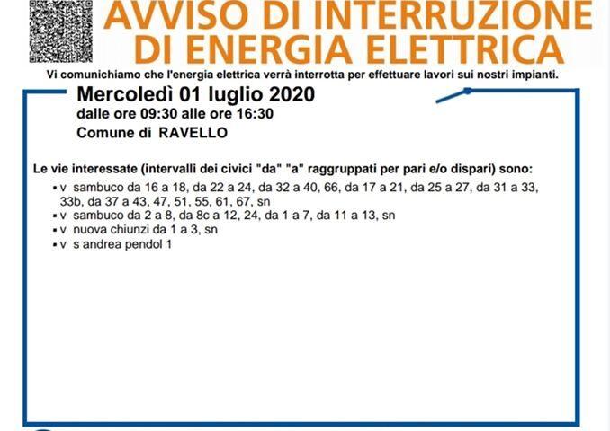 Ravello – mercoledì 1 luglio ci sarà l'interruzione di energia elettrica