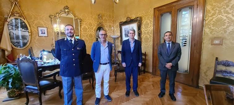 Il questore Ficarra e il vice Giuseppe Fedele in visita al sindaco di Cava de' Tirreni