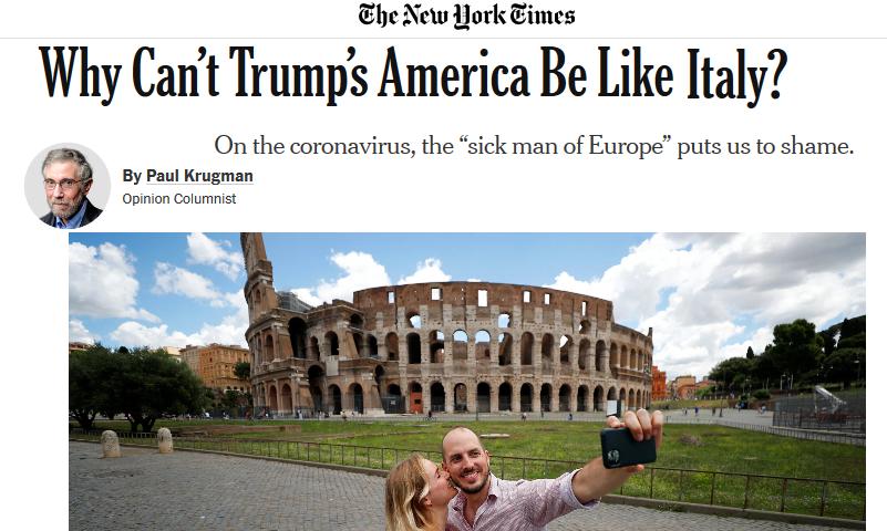 Per il NewYork Times, l'Italia è un modello da seguire per la lotta contro il Covid