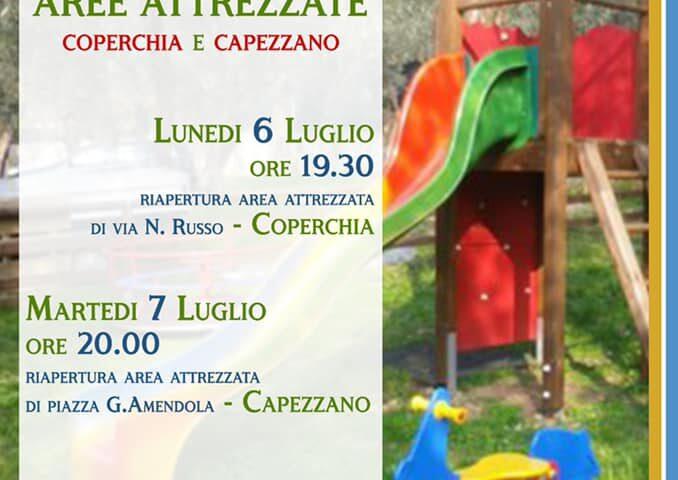 Lunedì e martedì inaugurazione di due parchi giochi a Coperchia e Capezzano