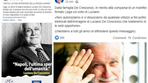 """La famiglia di De Crescenzo diffida la Lega: """"Via quel manifesto, vi denunciamo"""""""