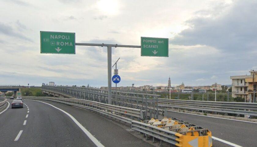 A3 NAPOLI-POMPEI-SALERNO: CHIUISO PER UNA NOTTE IL TRATTO POMPEI EST SCAFATI-ANGRI SUD