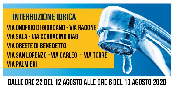Cava de Tirreni – interruzione idrica e cali di pressione mercoledì 12 agosto, ecco dove