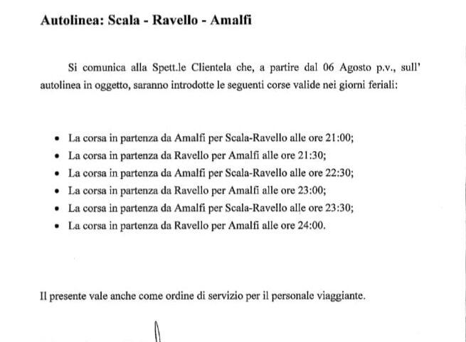 Ravello – integrazione corse serali del trasporto pubblico della Sita