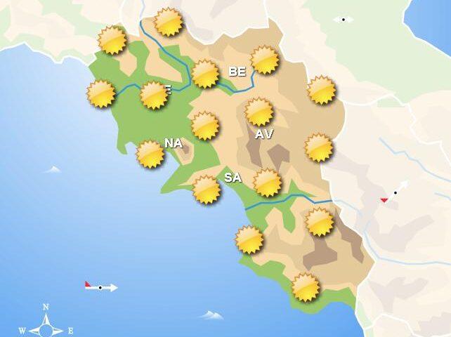 Meteo per domani in Campania, sole per l'intera giornata. In serata nessun cambiamento