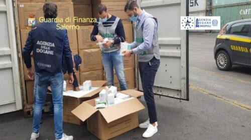 Mascherine sospette nel Porto di Salerno, sotto sequestro mezzo milione di protezioni