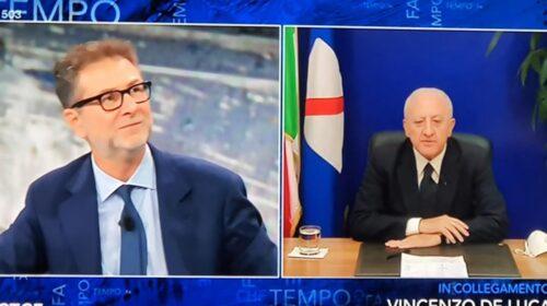 Domani sera De Luca torna da Fazio in Tv con i ministri Azzolina e Spadafora